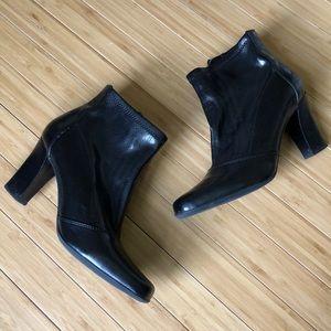 Franco Sarto Vintage Black Leather Ankle Boots sz8